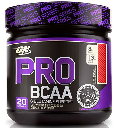 Optimum Nutrition Pro BCAA & Glutamine Support Fruit Punch 20 Servings