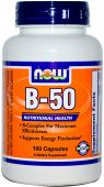 NOW, Vitamin B-50, 50 mg, 100 Caps