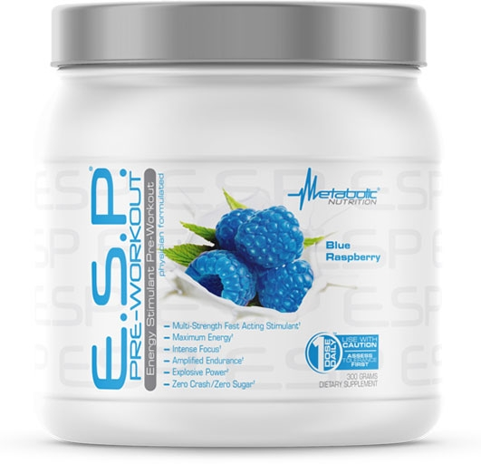 ESP Pre Workout, By Metabolic Nutrition, Blue Raspberry, 300 Grams