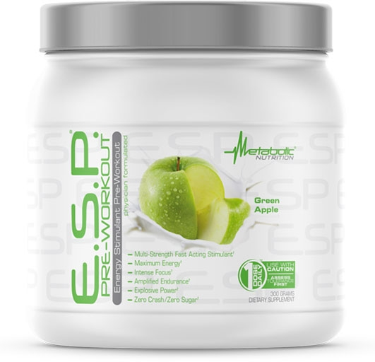ESP Pre Workout, By Metabolic Nutrition, Green Apple, 300 Grams