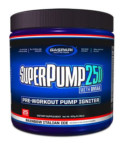 SuperPump 250 By Gaspari Nutrition, Rainbow Italian Ice, 325 Grams