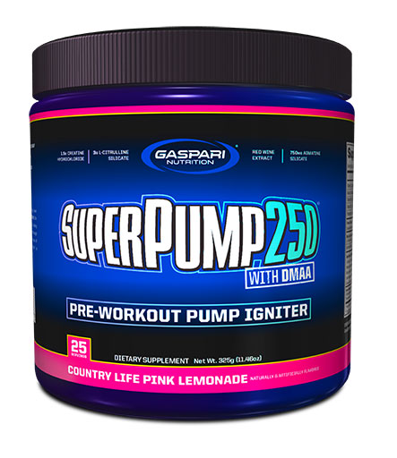 SuperPump 250 By Gaspari Nutrition, Country Life Pink Lemonade, 325 Grams
