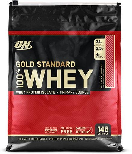 Gold Standard Whey Protein By Optimum Nutrition, Strawberry 10lb