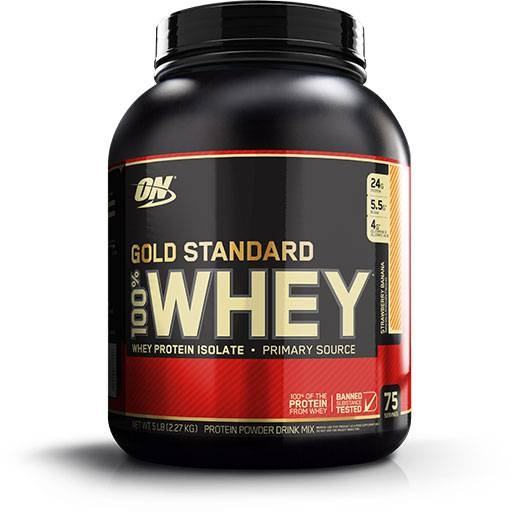 Gold Standard Whey Protein By Optimum Nutrition, Strawberry Banana 5lb