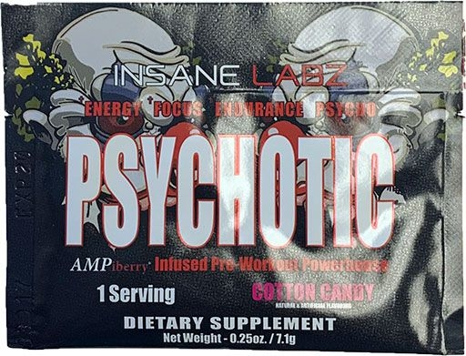 Psychotic Pre Workout By Insane Labz, Cotton Candy, Sample Packet