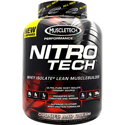 Nitro-Tech Performance Series By Muscletech, Cookies and Cream, 4 lbs
