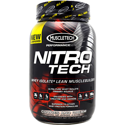 Nitro-Tech Performance Series By Muscletech, Cookies and Cream, 2 lbs