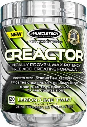 Creactor, Creatine, By MuscleTech, Lemon-Lime Twist, 120 Servings,