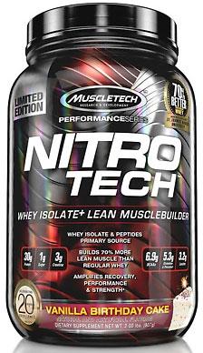 Nitro-Tech, Performance Series, By MuscleTech, Vanilla Birthday Cake, 2lb,