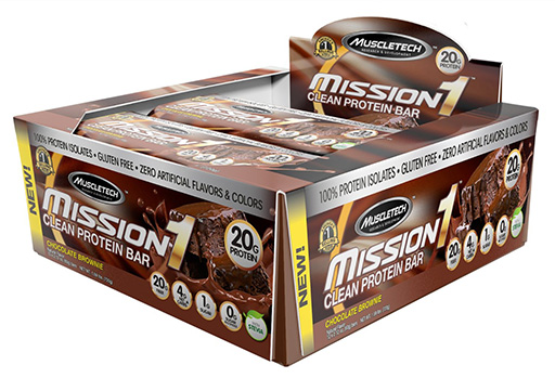 Mission 1 Bars, By MuscleTech, Chocolate Brownie, 12/Box