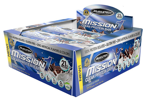 Mission 1 Bars, By MuscleTech, Cookies and Cream, 12/Box
