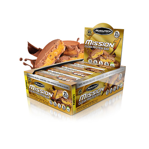 Mission 1 Bars, By MuscleTech, Chocolate Peanut Butter, 12/Box