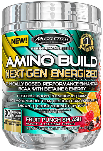 Amino Build Energized Next Gen, By MuscleTech, Fruit Punch, 30 Servings