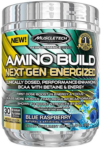Amino Build Energized Next Gen, By MuscleTech, Blue Raspberry, 30 Servings