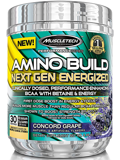 Amino Build Energized Next Gen, By MuscleTech, Concord Grape, 30 Servings