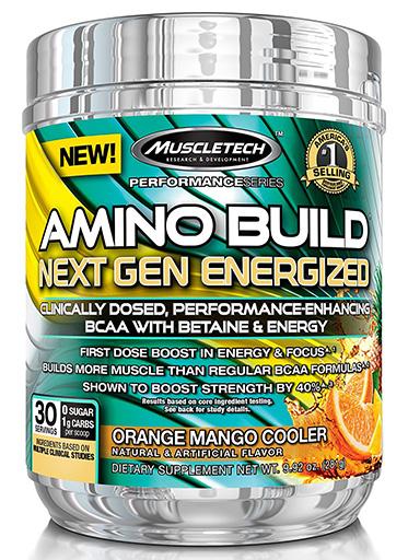 Amino Build Next Gen Energized, By MuscleTech, Orange Mango, 30 Servings