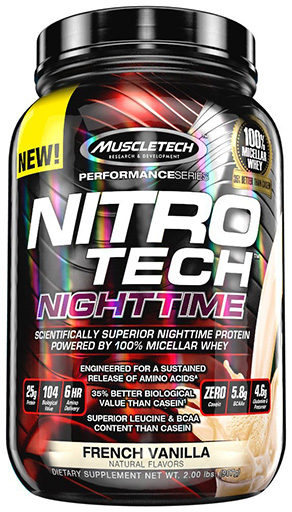 Nitro Tech NightTime, By MuscleTech, French Vanilla, 2lb