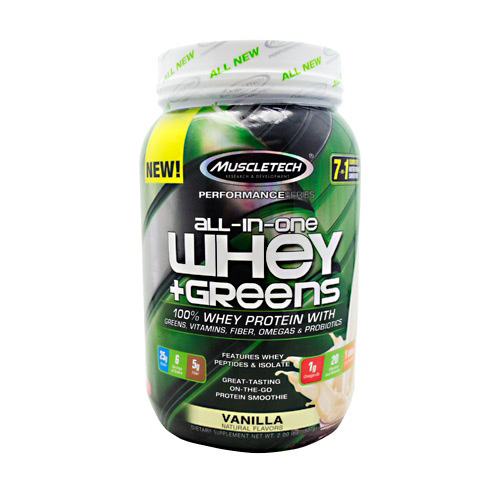 MuscleTech Whey Greens, All In One, Vanilla, 2lb