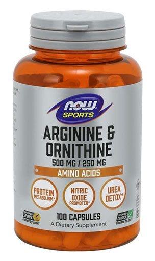 NOW Sports, L-Arginine & Ornithine, 500/250 mg, 100 Caps