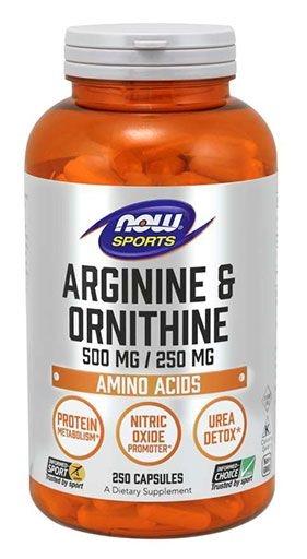 NOW Sports, Arginine & Ornithine, 500/250mg, 250 Caps