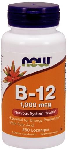 NOW, Vitamin B-12, 1000 mcg, with Folic Acid, 250 Chewable Lozenges,