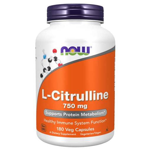 NOW L-Citrulline, 750 mg, 180 Veg Caps,