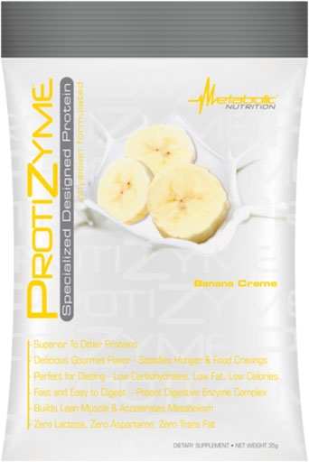 Protizyme Protein By Metabolic Nutrition, Banana Cream, Sample Packet