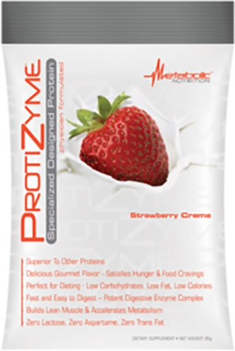 Protizyme Protein By Metabolic Nutrition, Strawberry Creme, Sample Packet