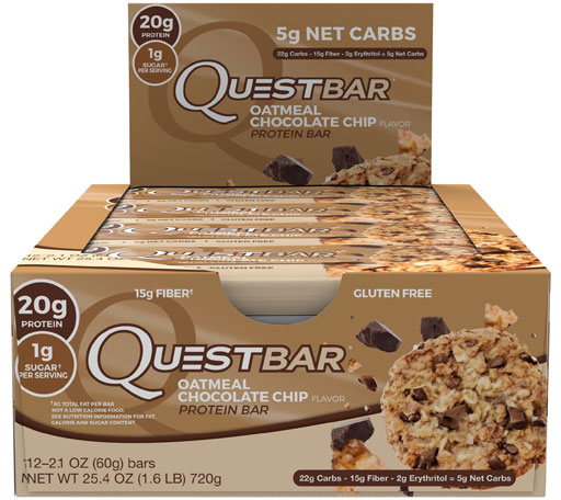 Quest Bars, Oatmeal Chocolate Chip, 12/Box, By Quest Nutrition,
