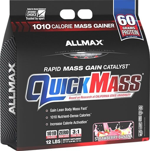 QuickMass by Allmax Nutrition, Strawberry Banana, 12lb Bag