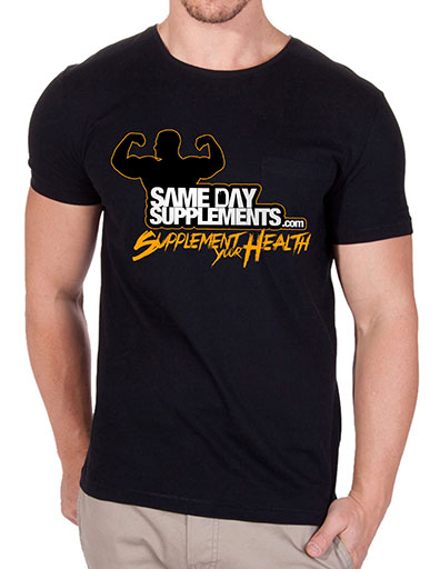 SameDaySupplements Black T-Shirt, With Orange Logo, Medium