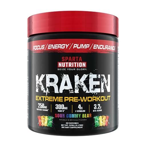 Kraken Pre Workout By Sparta Nutrition, Sour Gummy Bear, 40 Servings