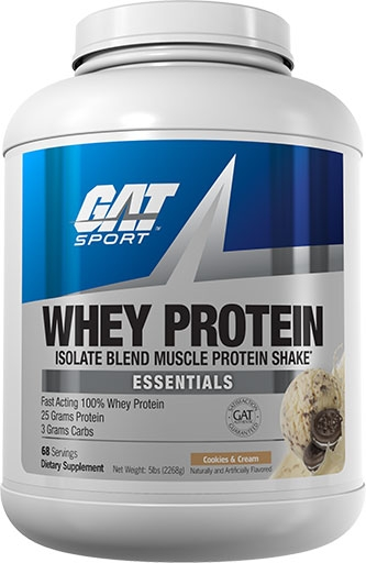 GAT Whey Protein, Essentials Series, Cookies and Cream, 5lb