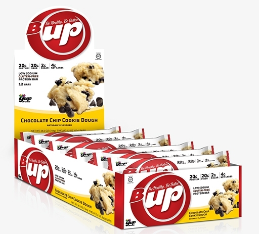 B-UP Protein Bars, By YUP Brands, Chocolate Chip Cookie Dough, 12/Box