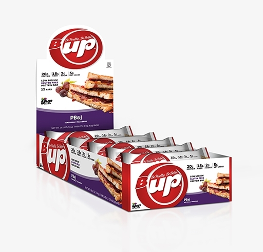 B-UP Protein Bars, By YUP Brands, PB and J, 12/Box